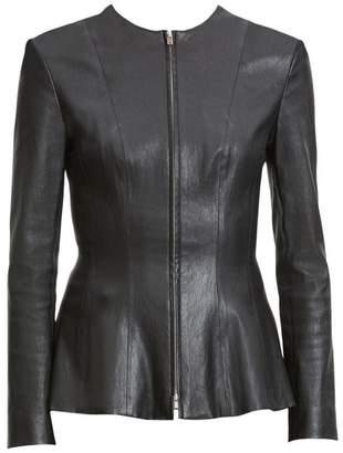 Theory Bristol Leather Peplum Jacket