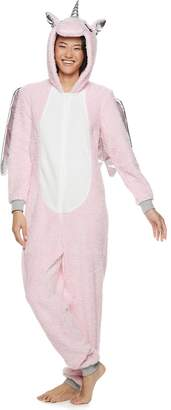 Peace Love & Fashion Juniors' Peace, Love & Fashion Hooded Unicorn One-Piece Pajamas