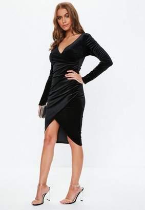 Missguided Black Velvet Wrap Mini Dress