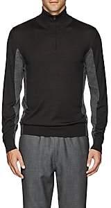 Luciano Barbera Men's Wool-Blend Half-Zip Sweater - Charcoal