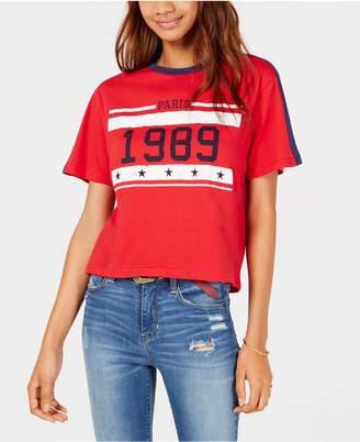 Rebellious One Juniors' Paris 1989 Crop Graphic Ringer T-Shirt