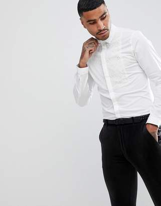 Asos Slim Stretch Shirt With Lace Bib Detail