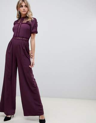 f8d23f67bb4 Asos Design DESIGN tea jumpsuit with lace inserts