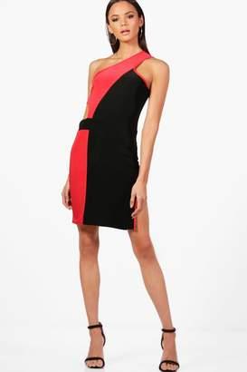 boohoo Tall One Shoulder Cut Out Mini Dress