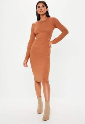 Missguided Tan Bodycon Long Sleeve Midi Dress