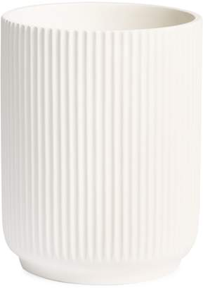 Glucksteinhome White Ribbed Cement Waste Basket
