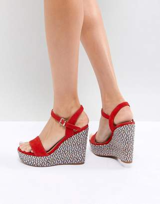 Aldo Two Part Wedge Shoe in Red with Textured Heel