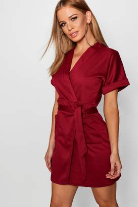 boohoo Petite Obie Tie Wrap Dress