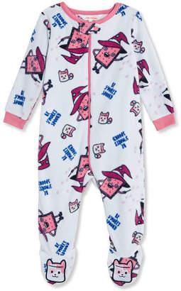 Joe Fresh Baby Girls Fleece Zip Sleeper, White (Size 0-3)