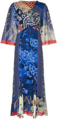 Etro Patchwork print cowl-neck silk dress