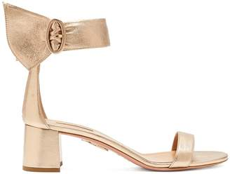 Aquazzura Palace 50 block-heel metallic leather sandals