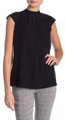 Modern American Designer Pintuck Pleated Cap Sleeve Blouse