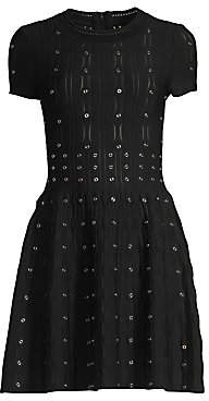 The Kooples Women's Grommet Laser Cut Smocked Fit-&-Flare Dress