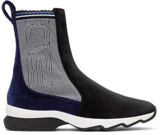 Fendi Black and Blue Logo Velvet High-Top Sneakers