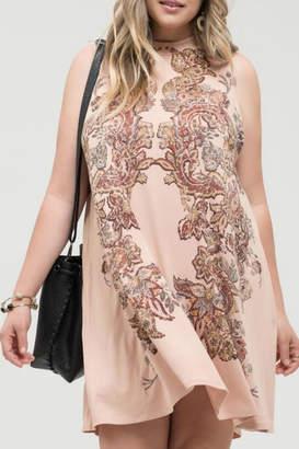 Blu Pepper Mock-Neck Sleeveless Dress