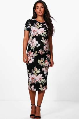 boohoo Maternity Floral Printed Short Sleeve Dress