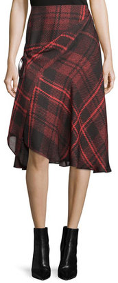 McQ Alexander McQueen Tied Tartan Plaid Skirt, Red $555 thestylecure.com