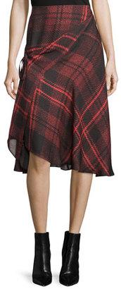 McQ Alexander McQueen Tied Tartan Plaid Skirt, Red $555 thestylecure.com