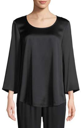 Eileen Fisher 3/4-Sleeve Silk Charmeuse Blouse
