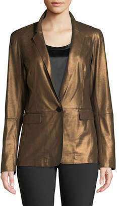 Lafayette 148 New York Lyndon Misted Metallic Suede Blazer Jacket