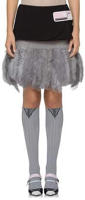 Prada Women's Patch-Appliquéd Wool Miniskirt