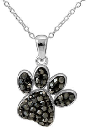 FINE JEWELRY Sterling Silver Crystal Paw Print Pendant Necklace