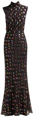 Saloni Fleur Geometric Fil CoupA Silk Blend Gown - Womens - Black Multi