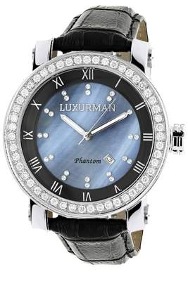 Mother of Pearl Luxurman Phantom 2185 Stainless-Steel Quartz 4ct Diamond Bezel Blue Dial Mens Watch