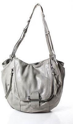 Kooba Beige Embossed Leather Faux Buckle Detail Medium Shoulder Handbag $69 thestylecure.com