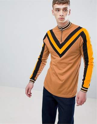 Asos DESIGN long sleeve t-shirt with cord chevron and sleeve panels
