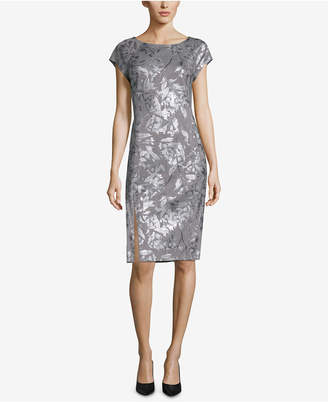 ECI Plaid Foil-Print Sheath Dress