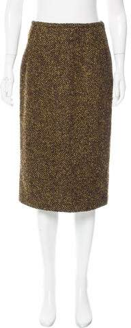 Michael Kors Wool & Lama-Blend Knee-Length Skirt