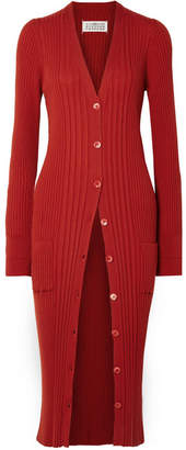 Maison Margiela Ribbed Wool Cardigan - Red