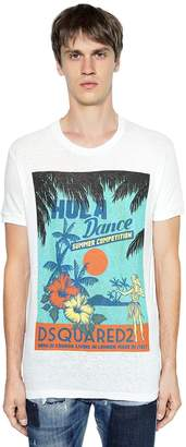 DSQUARED2 Hula Dance Printed Cotton Jersey T-Shirt