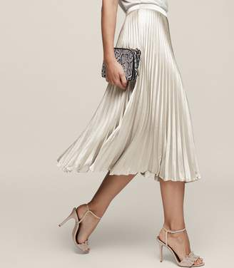 Reiss Alisa Metallic Midi Skirt