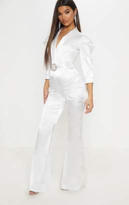 PrettyLittleThing White Belted Puff Sleeve Jumpsuit