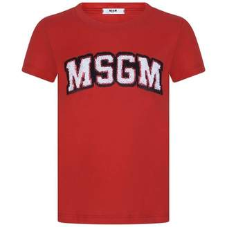 MSGM MSGMGirls Red Sequin Logo Top