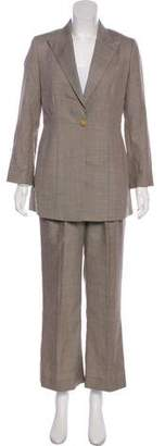 Richard Tyler Wool & Silk Check Pantsuit