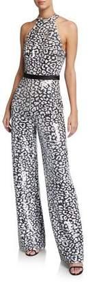 Jovani Animal-Print Reverse Sequin Halter Jumpsuit