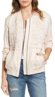 Women's Hinge Lace Detail Bomber Jacket $99 thestylecure.com