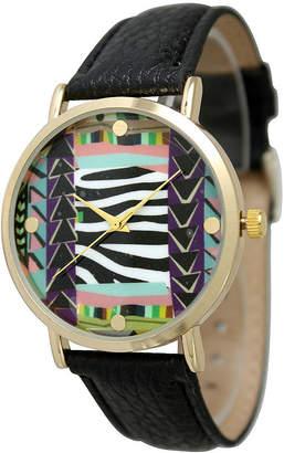 OLIVIA PRATT Olivia Pratt Womens Multi-Color Pattern With Gold-Tone Studs Dial Black Leather Watch 13628Black