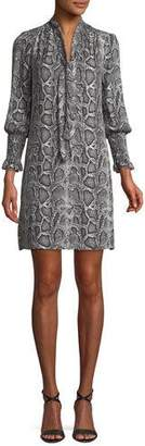 Rebecca Taylor Snake-Print Tie-Neck Shift Dress