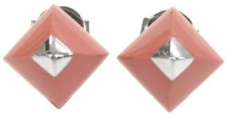 Hermes Medor Silver Tone Hardware Cupidon Coral Pyramid Pierced Earrings