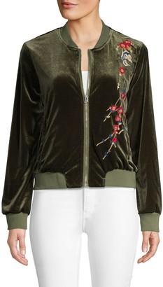 Driftwood Embroidered Velvet Bomber Jacket