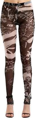 MM6 MAISON MARGIELA Graffiti Print Stretch Mesh Leggings