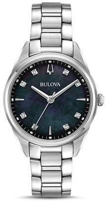 Bulova Sutton Black Mother-of-Pearl Dial Watch, 32.5mm