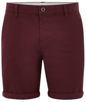 Topman Mens Red Burgundy Stretch Skinny Chino Shorts