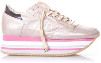 Philippe Model Eiffel Champagne Metallic Leather Sneakers