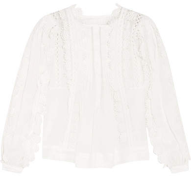 Isabel Marant - Nell Guipure Cotton Lace-trimmed Ramie Blouse - White