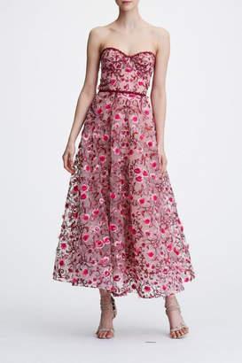 Marchesa Strapless Floral Dress